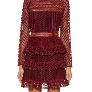 SELF PORTRAIT Burgundy Lace Dress UK 8 / US 4